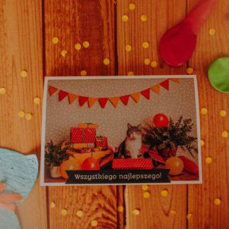 kartka urodzinowa dla kociarza z kotkami