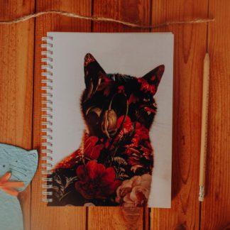 notes w kropki dla kociarzy i kwiaty